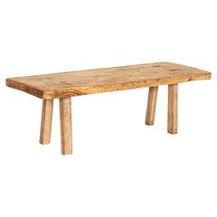 Rustic Slab Wood Coffee Table from Vintage Work Table