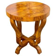 Vintage Italian Art Deco Style Walnut Side Table