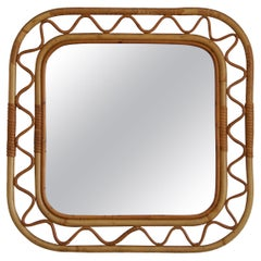 Swedish, Organic Wall Mirror, Woven Wicker, Bambo, Glass, Sweden, 1950s