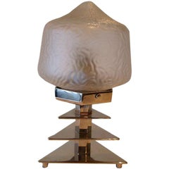 French Art Deco Glass and Chrome Sculptural Table Lamp
