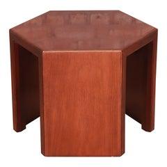 Baker Furniture Mid-Century Modern Walnut Hexagonal Side Table