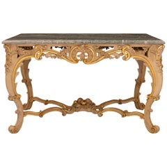 Italian 19th Century Louis XV St. Giltwood and Marble Center Table