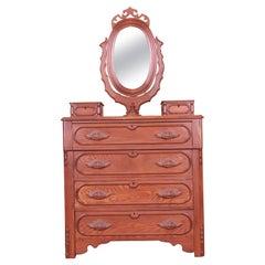 Antique Victorian Carved Oak Dresser with Mirror, Circa 1880s