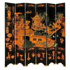 Large 6 Panel Artisan Chinese Screen Sold Through Karl Springer, 1980s