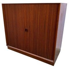 Molgaard and Hvidt Tambour Door Solid Teak Cabinet for John Stuart Furniture