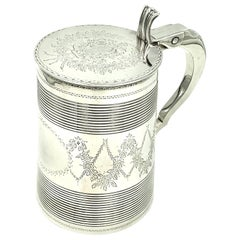 Antique 18th Century Large George III Sterling Silver Armorial Tankard, 1806