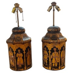 Pair of Antique English Painted Tea Can Lamps