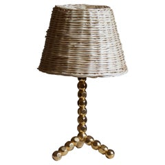 Swedish, Table Lamp, Brass, Rattan, Sweden, 1960s