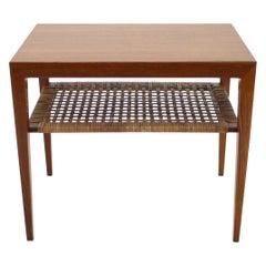 1950s Severin Hansen Teak and Cane Side Table, Denmark