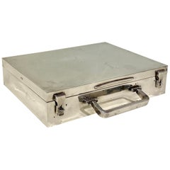 Large Heavy Sterling Silver Box Modelled as a Suitcase by Whalker & Hall, 1939