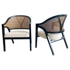 Dunbar Cane Y Back Captains Chairs by Edward Wormley, a Pair