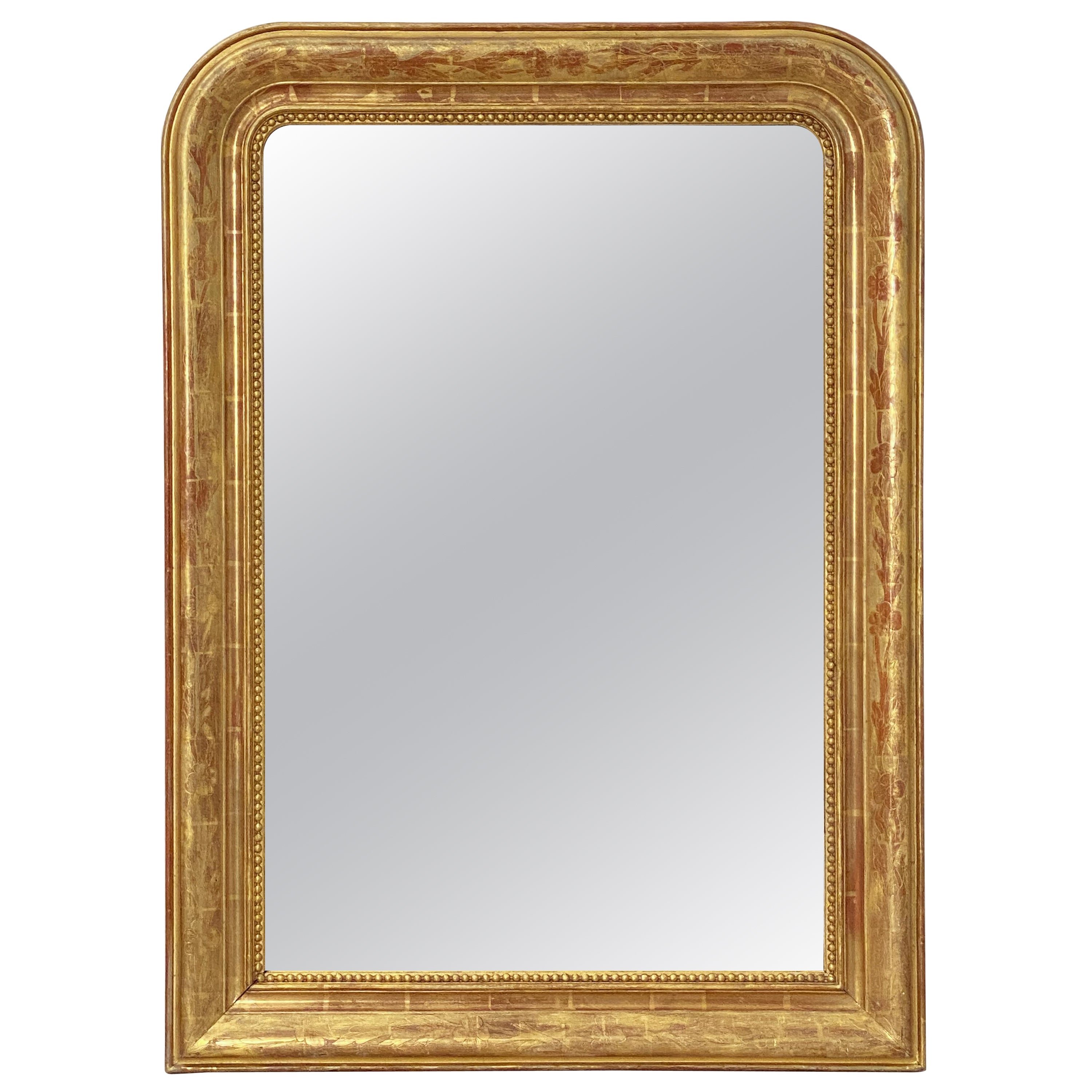 Large Louis Philippe Arch Top Gilt Mirror from France (H 38 3/4 x W 28)
