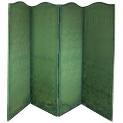 Four Panel Green Damask Screen with Blue Trim