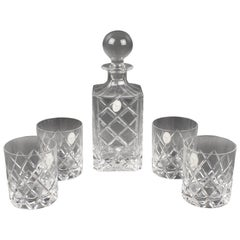 Christian Dior 1980s Crystal Decanter and Glass Set, 5 pieces in Original Box