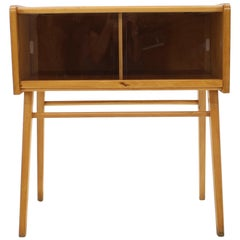 1960s Oak and Glass Cabinet, Czechoslovakia