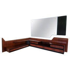 Italian Mid-Century Wall Mounted Corner Console with Mirror by Dassi, 1950s