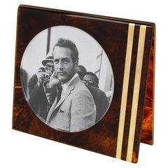 Team Guzzini Italy 1970s Tortoiseshell Lucite and Brass Picture Frame