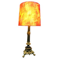 Large Antique Regency Table Lamp in Brass And Polished Black Marble