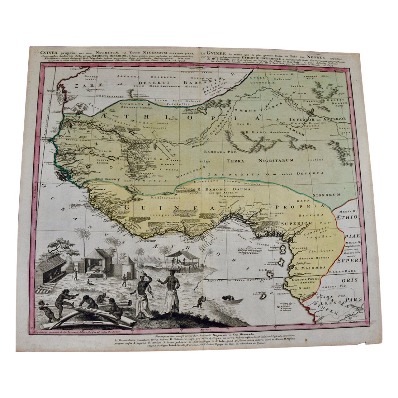 """18th Century Hand Colored Homann Map of West Africa Entitled """"Guinea Propria"""""""