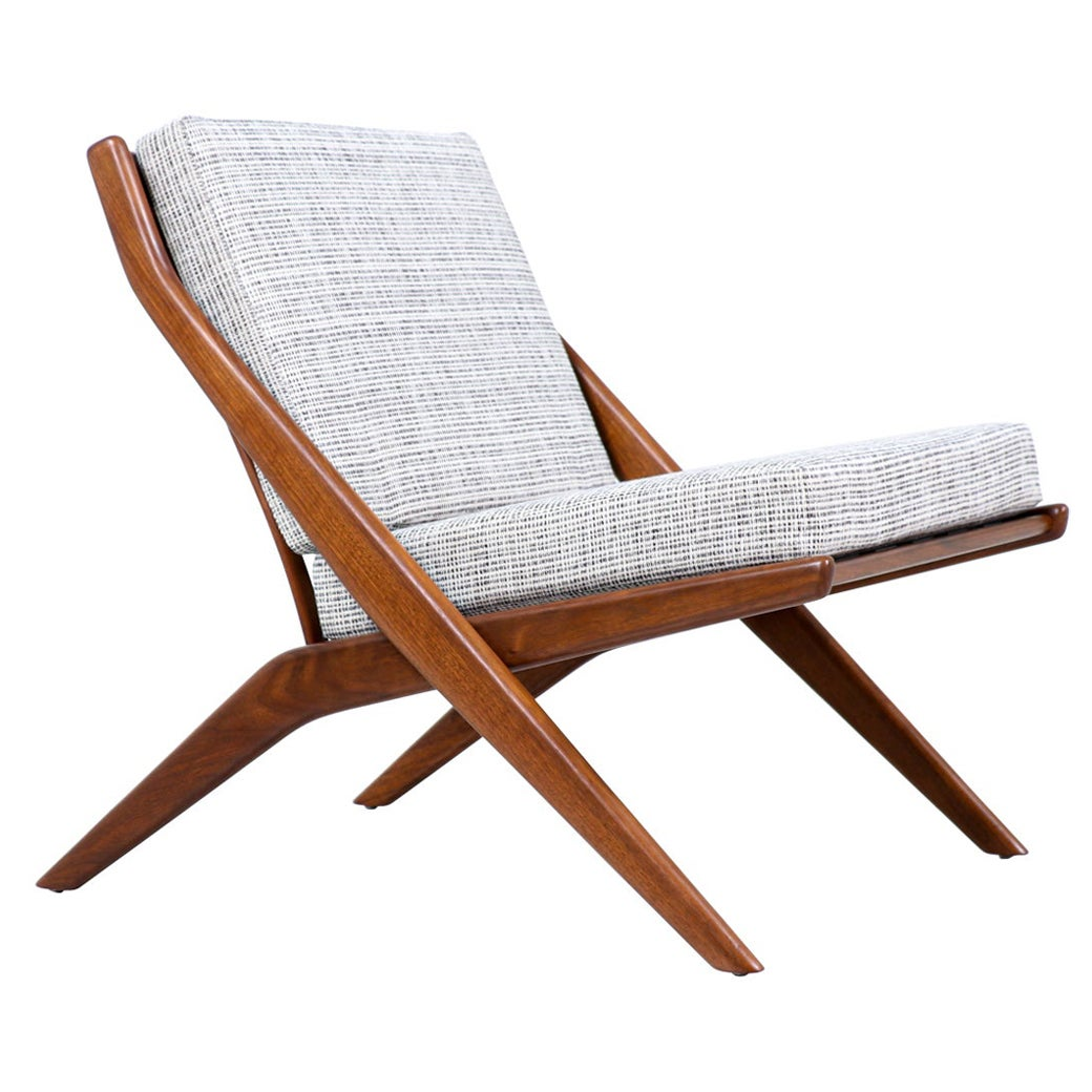 "Folke Ohlsson ""Scissor"" Walnut Lounge Chair for Dux"