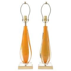 Flavio Poli, Seguso Melon Color Murano Glass Lamps
