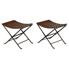 Pair of Woven Leather Folding Stools
