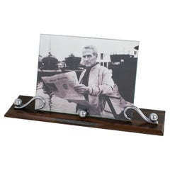 French Art Deco Chrome and Macassar Wood Picture Frame