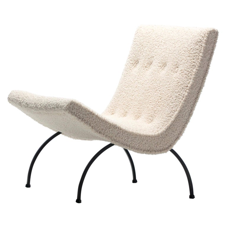 Milo Baughman Scoop Chair in Super Soft Ivory Bouclé with Iron Legs c. 1950s  For Sale