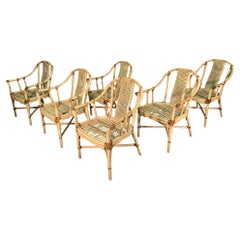 Bamboo Rattan Dining Chairs by Drexel Heritage, Set of 6