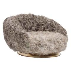 21st Century ELF Curved Swivel Lounge Chair in Tibetan Curly Sheepskin