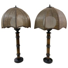Faux Bamboo Cane Shade Table Lamps