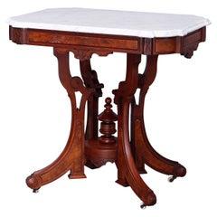 Antique Eastlake Walnut & Burl Marble Top Parlor Table, circa 1890