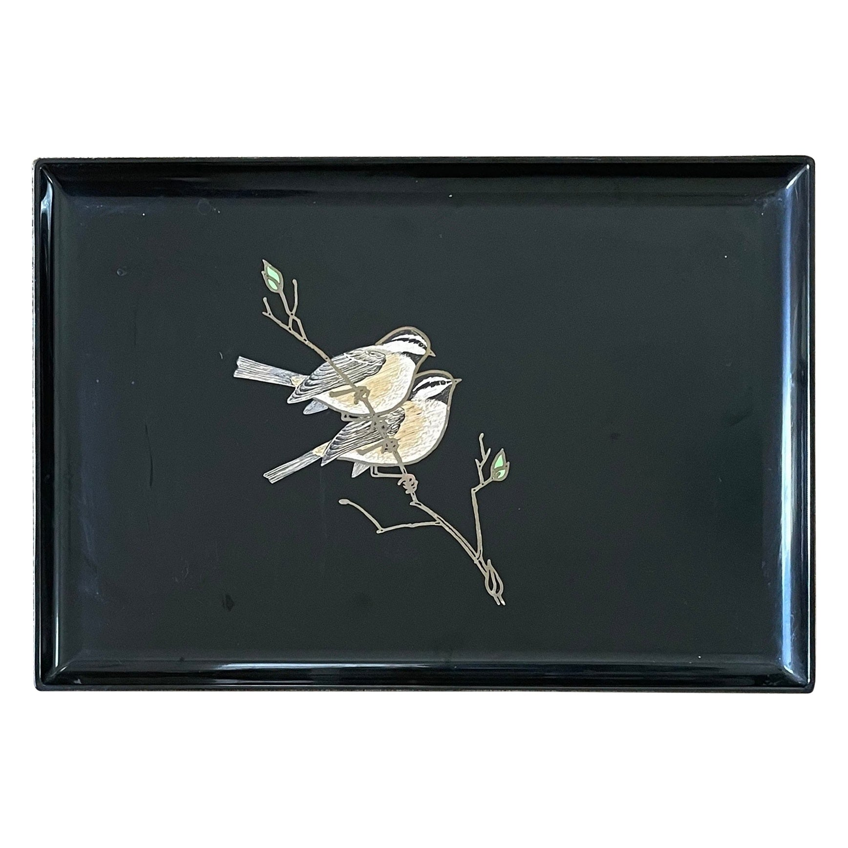 Inlaid Wood Birds / Sparrows Tray by Couroc California
