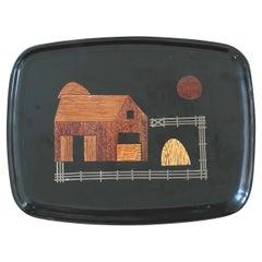 """Inlaid Wood """"Farm / Barn"""" Tray by Couroc California"""