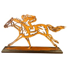 Thoroughbred Horses Racing Wood Sculpture