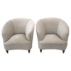 """Gio Ponti Mid-Century Italian Velvet Armchairs """"Casa E Giardino"""" 1936, Pair"""