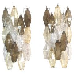 Taupe Colored Poliedri Murano Glass Sconces Mid-Century Modern Venini Italy 1970