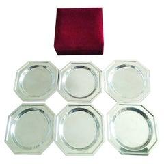 6 Silver Coasters With Velvet Case, Midcentury