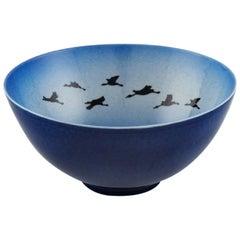 Sven Wejsfelt, Gustavsberg Studiohand, Bowl in Ceramics with Birds