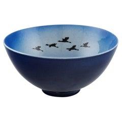 Sven Wejsfelt, Gustavsberg Studiohand, Unique Bowl with Birds