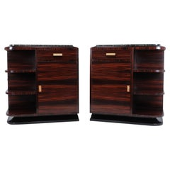 Pair of French Art Deco Macassar Ebony Cabinets