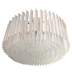 Large Drum Triedri Clear Murano Glass Mid Century Chandelier/Flush Mount, Venini