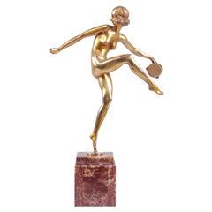 "Art Deco Gilt Bronze Sculpture ""Tamborine Dancer"" by Feguays c1925"