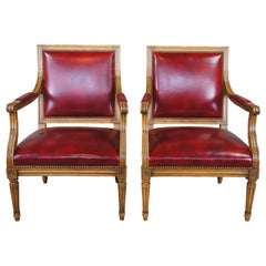 2 Vintage French Louis XVI Walnut & Red Leather Office Library Club Arm Chairs