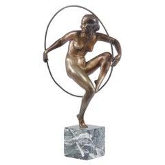 Art Deco Bronze Sculpture Hoop Dancer by A Bouraine c1920