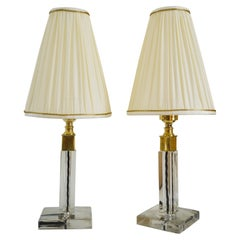 2 Art Deco Cut Glass Table Lamp with Fabric Shades Around 1920s