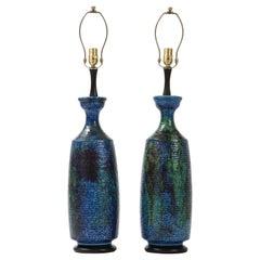 Bitossi Blue, Green, Black Ceramic Lamps