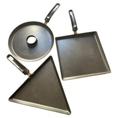Set of 3 Pans TEFAL Design Patrice Carré, France 2000s, Square, Round, Triangle