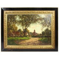 Large Late 19th C. Village Landscape Oil on Canvas
