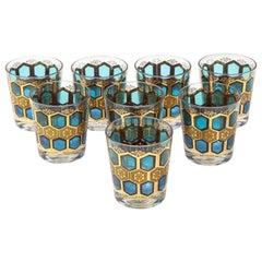 Set of 8 Mid Century Gilt Rocks Glasses